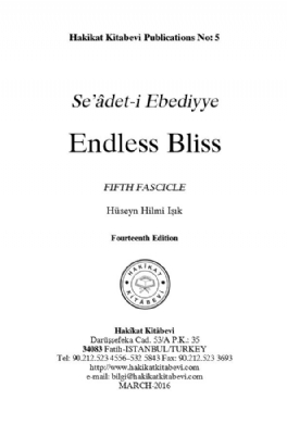Seâdet-i Ebediyye Endless Bliss Fifth Fascicle